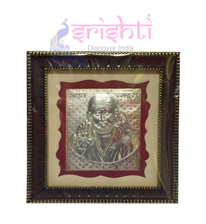 SSSD-Silver Sai Baba Photo Frame-5.5 Inches USA & CANADA