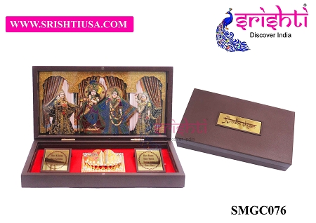 SAPF-Radha Krishna with Charan Paduka Photo Frame Box USA & CANADA