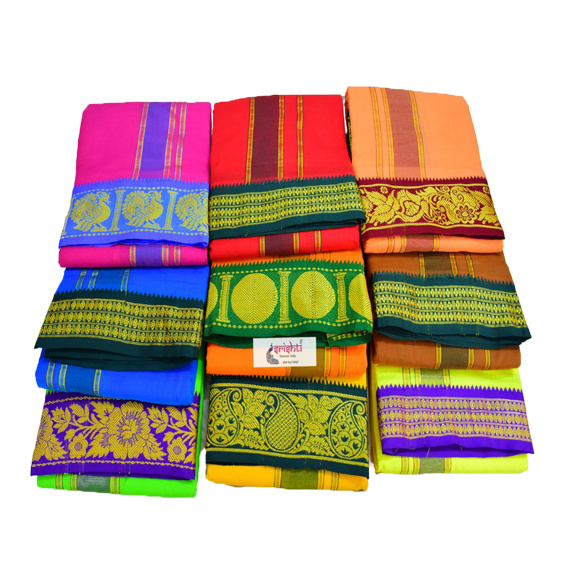 SADV-Srishti Premium Cotton Veshti Color with Assorted Borders 10 X 6-C02
