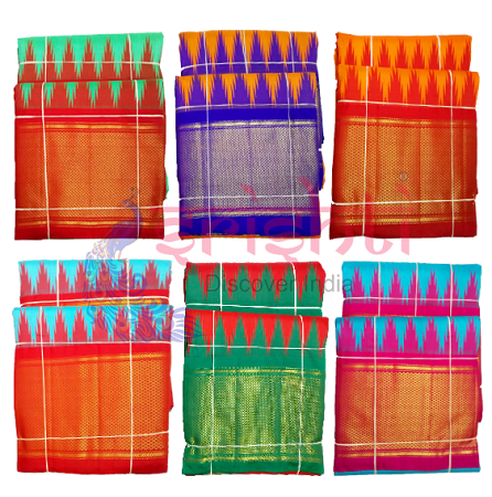 SDBK-Srishti Pure Silk Lord Thirupati Venkateswara/Balaji Melchathi Veshti Assorted Color USA & CANADA