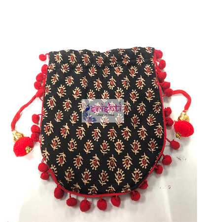 SJBK-Designer Red with Black Potli Bag  USA & CANADA