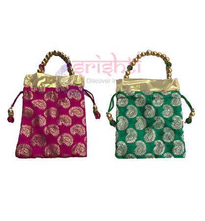 SJBK-Assorted Fancy with Beaded Handle Potli Bag USA & CANADA