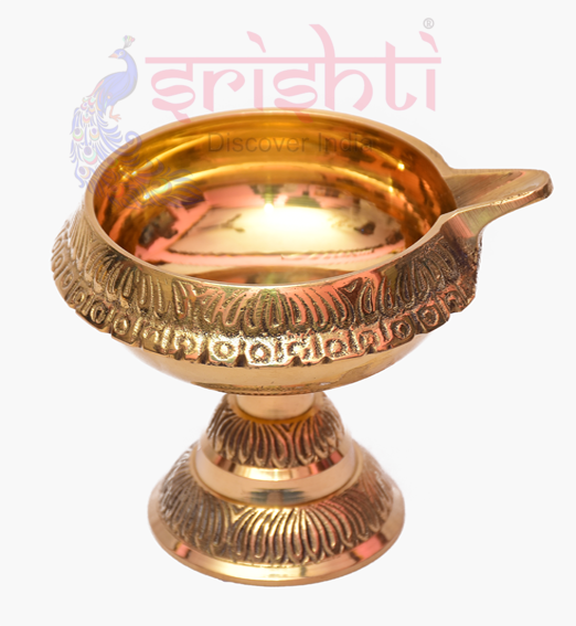 SKBU-Brass Kubera Diya with Stand-M05