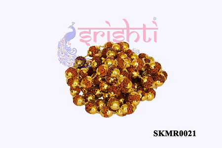 SRRK-Rudraksha Mala with Pure Gold Plated-108 Beads-GC02