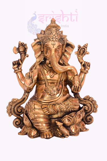 SSBU-Brass Lotus Ganesha Statue Model 1 USA & CANADA