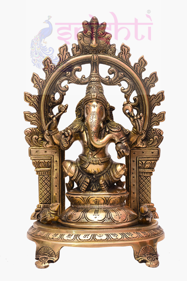 SSBU-Brass Ganesha Statue with Arch Model 4 USA & CANADA