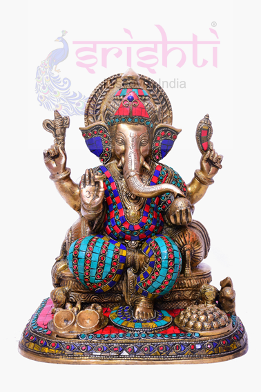 SSBU-Brass Fancy Ganesha with Laddu Statue USA & CANADA