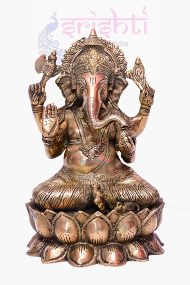 SSBU-Brass Lotus Ganesha Statue Model 2 USA & CANADA