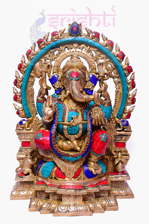 SSBU-Brass Mooshika Ganesha with Stone USA & CANADA