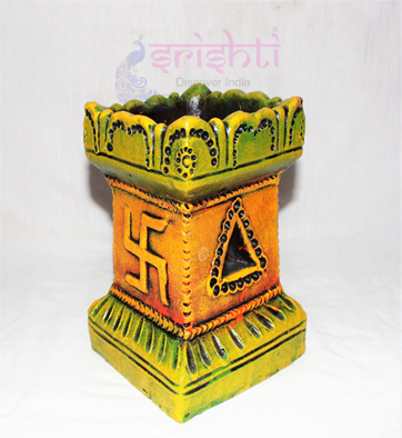 SSCU-Clay Decor Thulasi Pot-M09 USA & CANADA