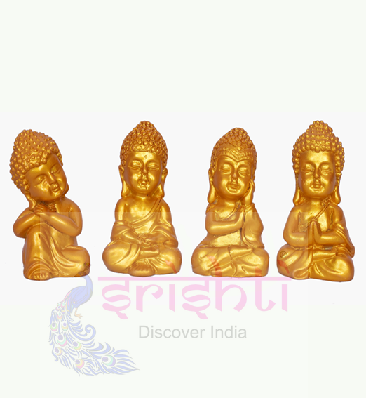 SDGU-Buddha Set of 4 (Gold)-2.5 Inches