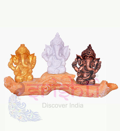 SDGU-Tree Ganesh Set of 3 (Multi color)-3.5 Inches USA & CANADA
