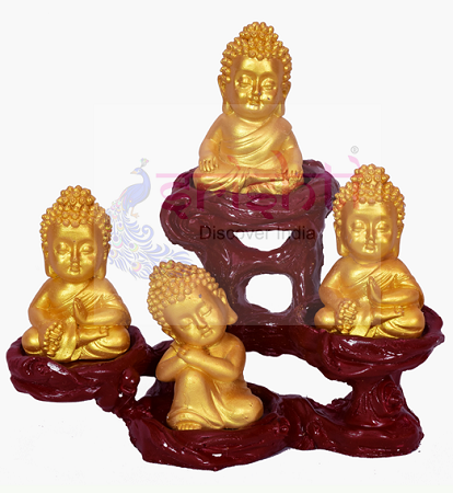 SDGU-Tree Buddha Set of 4 (Gold)-4 Inches USA & CANADA