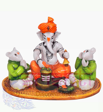 SDGU-Ganesha With Shivalingam-5 Inches USA & CANADA