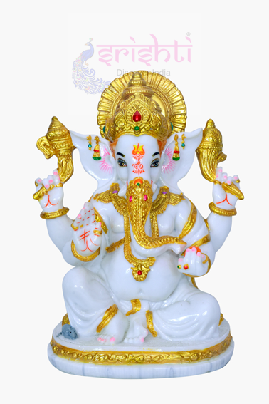 SDGU-Pure White Marble Ganesha-10 Inches