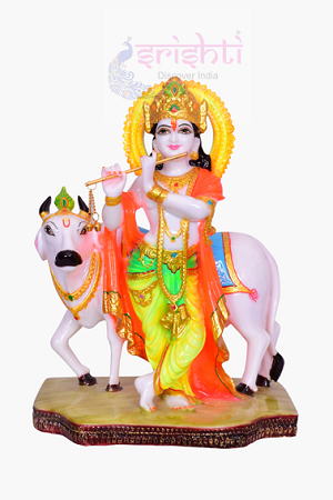SDGU-Marble Cow Krishna-12 Inches USA & CANADA
