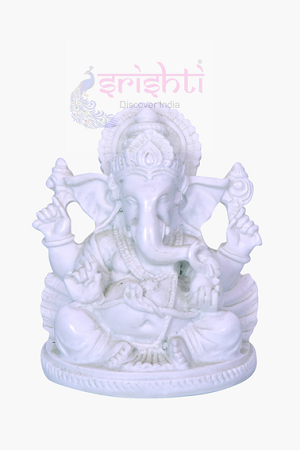 SDGU-White Marble Ganesha Model-3.5 Inches USA & CANADA