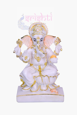 SDGU-White Marble Ganesha-7 Inches USA & CANADA