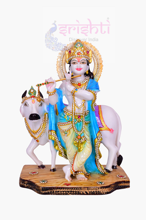 SDGU-Cow Krishna Stone Work-12 Inches USA & CANADA