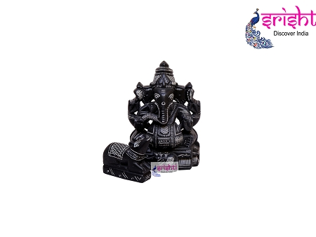 SBSS-Black Stone Valampuri Ganesha with Nandi 5.5 Inches-S3 USA & CANADA