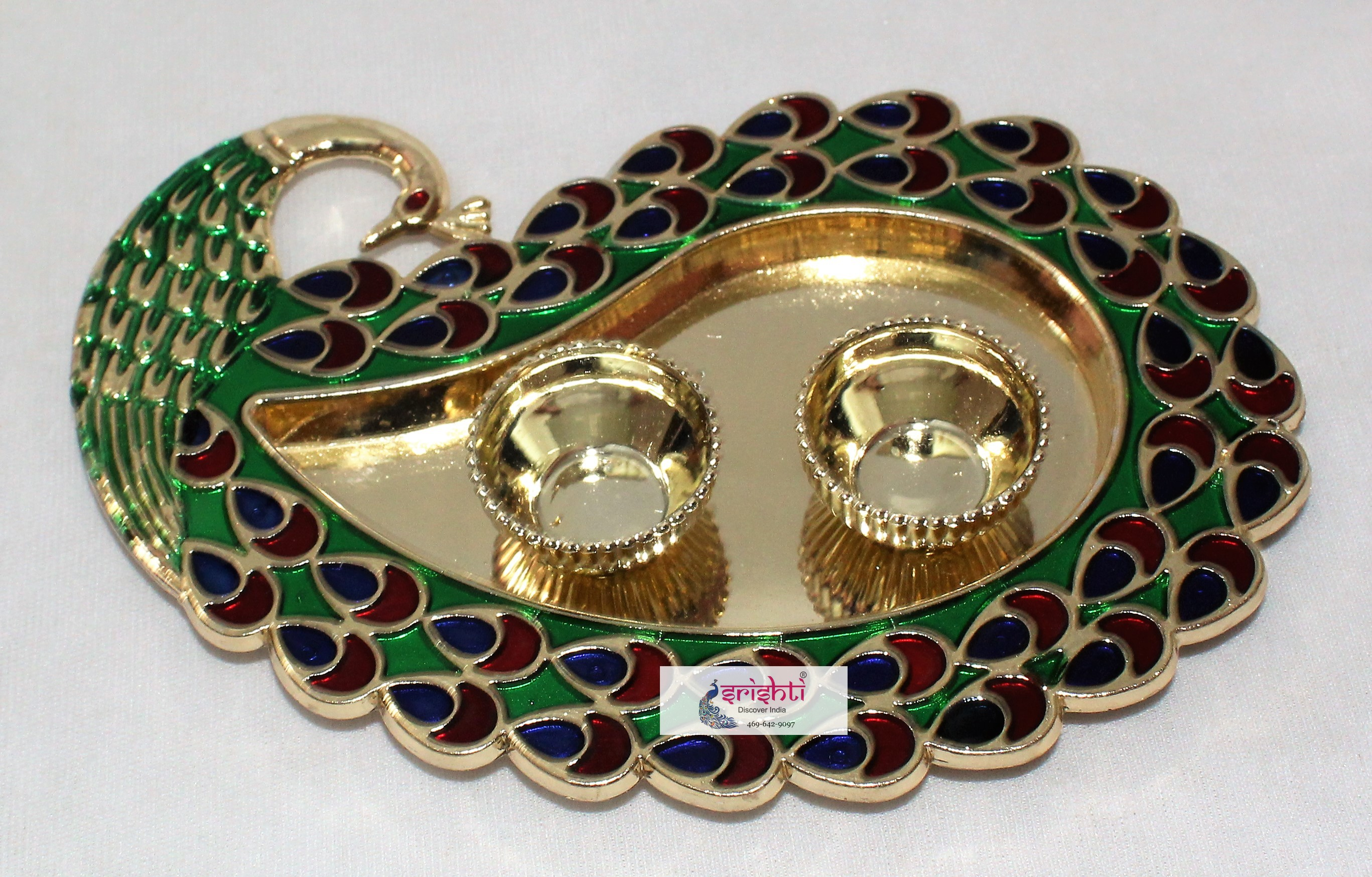 SKS Rangoli Design Plate With Kumkum Cup 010