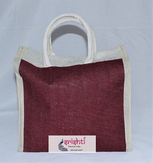SJBK-Jute Maroon with White Color Bag (SKPB023)