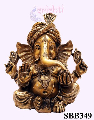 SSBU-Brass Turban Ganesha-14 Inches (SBB349)