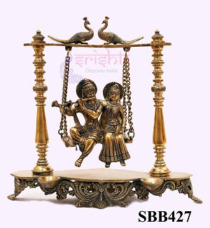 SSBU-Brass Radha Krishna on Jula-16 Inches (SBB427)