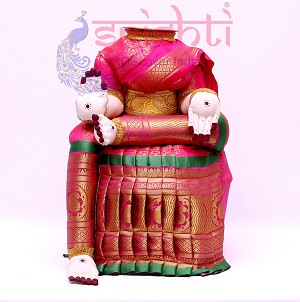 SVVB-Varalakshmi Idol Amman Dress Pink-17 Inches (SVBC002)