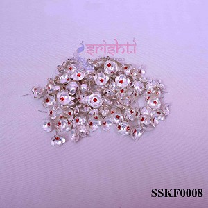 SSSD-Pure Silver Archana Flowers with Stone-Pack of 110-M01 (SSKF0008)