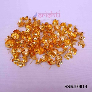 SSSD-Pure Silver Archana Flowers with Gold Plated-Pack of 110-M03 (SSKF0014)