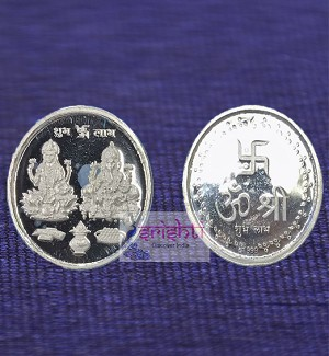 SSSD-Pure Silver Ganesh & Lakshmi Coin-10 Gms (SUHP092)