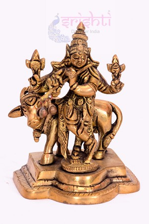 SSBU-Brass Cow Krishna-4 Inches-SBB182