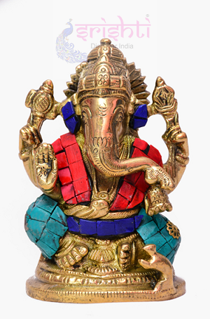 Brass Fancy Ganesha with Stone-SBB277