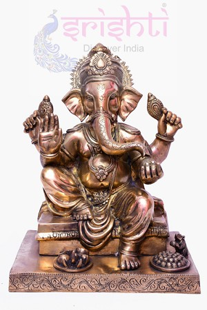 Brass Ganesha with Laddu-SBB307