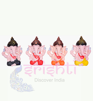Ganesh Set of 4 (Face Color) 2 Inches-STC001