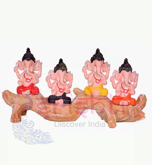 Tree Ganesh (Set of 4) 4 Inches-STC014