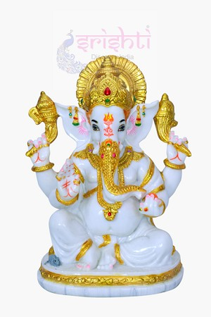 Pure White Marble Ganesha 10 Inches-SNS012